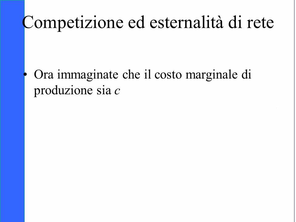 Copyright SDA Bocconi 2005 Competing Technologies, Network Externalities …n 33 Competizione ed esternalità di rete Ora immaginate che il costo margina