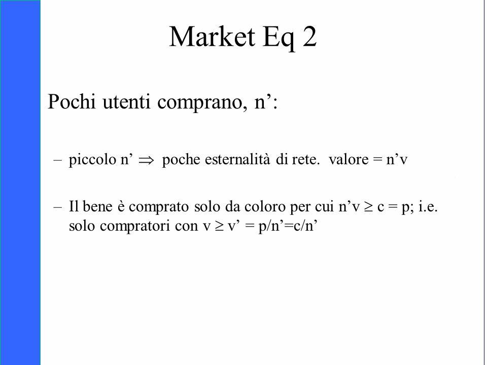 Copyright SDA Bocconi 2005 Competing Technologies, Network Externalities …n 39 Pochi utenti comprano, n: –piccolo n poche esternalità di rete. valore