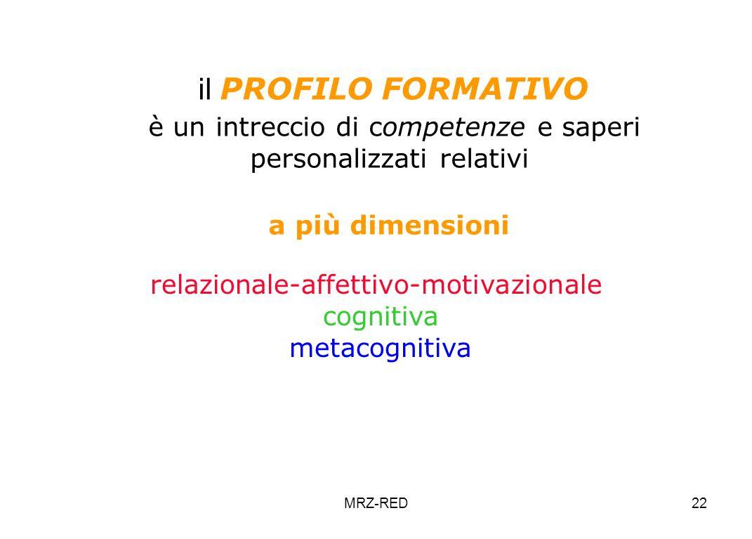 MRZ-RED22 il PROFILO FORMATIVO è un intreccio di competenze e saperi personalizzati relativi a più dimensioni relazionale-affettivo-motivazionale cognitiva metacognitiva