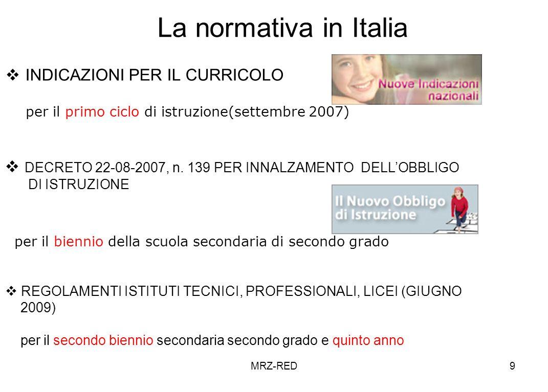 MRZ-RED9 La normativa in Italia INDICAZIONI PER IL CURRICOLO per il primo ciclo di istruzione(settembre 2007) DECRETO 22-08-2007, n.