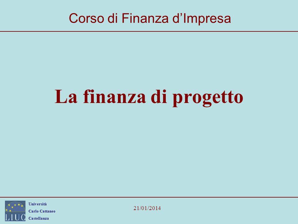Università Carlo Cattaneo Castellanza 21/01/2014 La finanza di progetto Corso di Finanza dImpresa