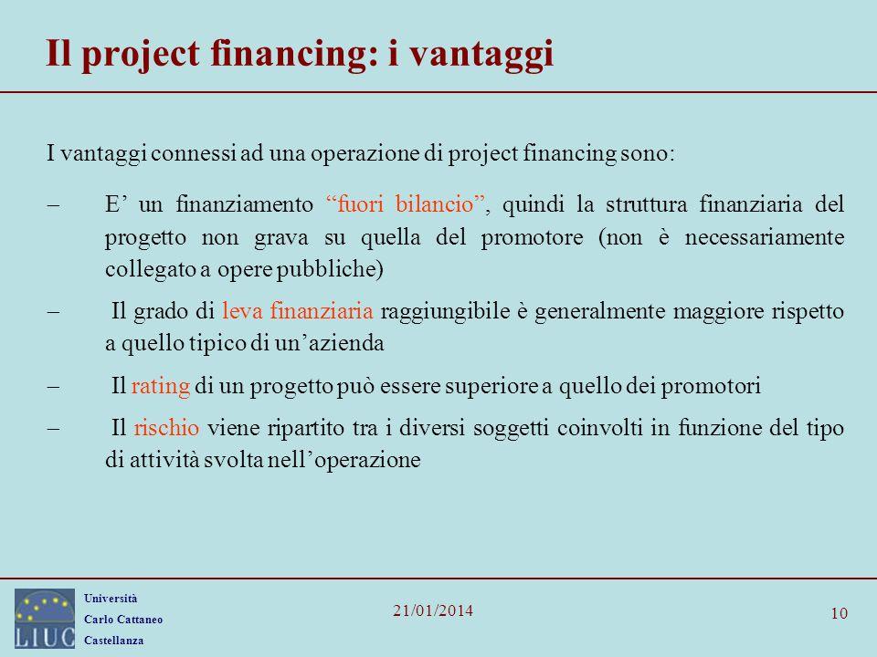 Università Carlo Cattaneo Castellanza 21/01/2014 10 Il project financing: i vantaggi I vantaggi connessi ad una operazione di project financing sono: