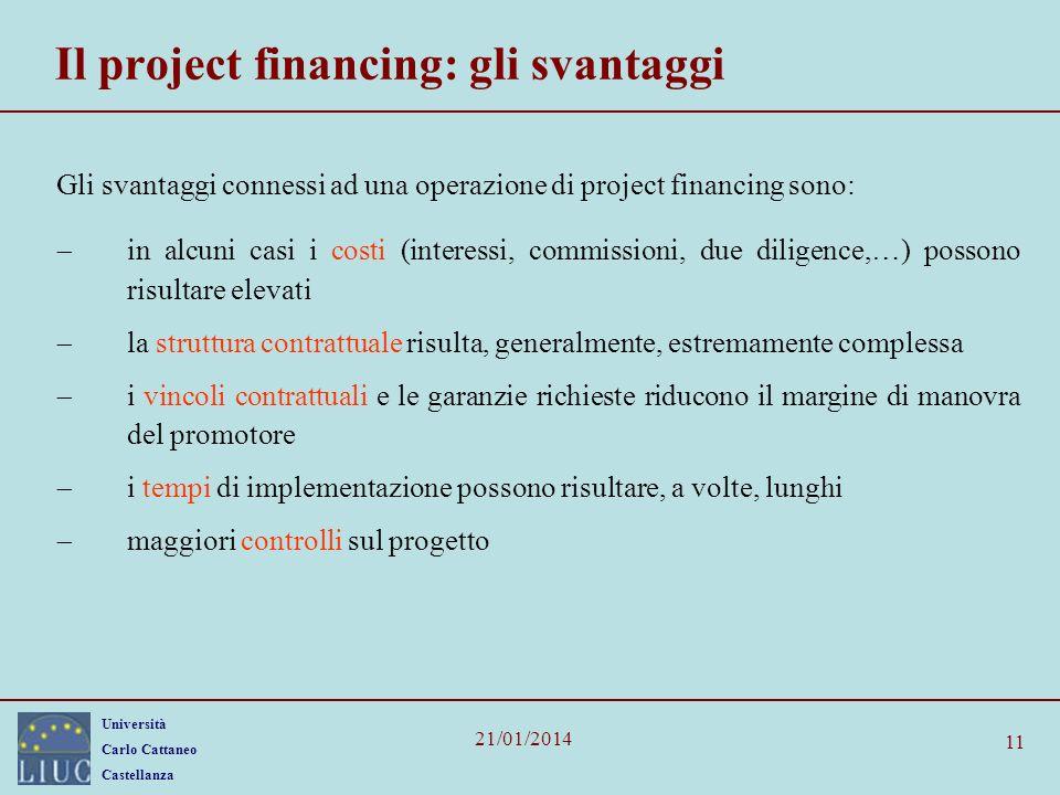 Università Carlo Cattaneo Castellanza 21/01/2014 11 Il project financing: gli svantaggi Gli svantaggi connessi ad una operazione di project financing
