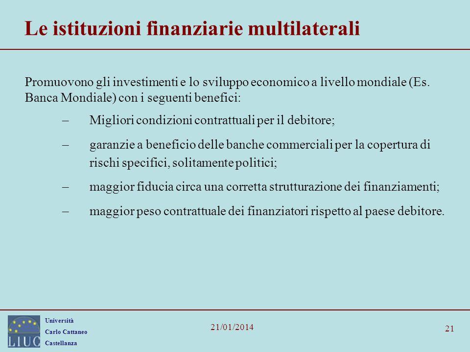 Università Carlo Cattaneo Castellanza 21/01/2014 21 Le istituzioni finanziarie multilaterali Promuovono gli investimenti e lo sviluppo economico a livello mondiale (Es.