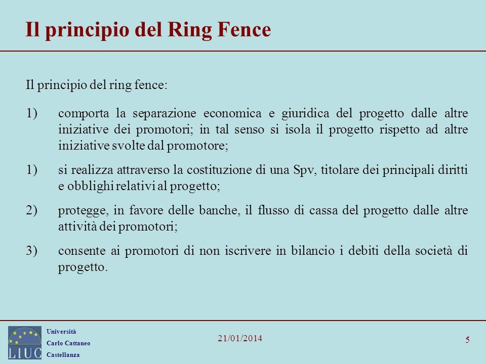 Università Carlo Cattaneo Castellanza 21/01/2014 5 Il principio del Ring Fence Il principio del ring fence: 1)comporta la separazione economica e giur
