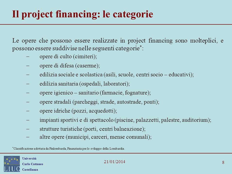 Università Carlo Cattaneo Castellanza 21/01/2014 8 Il project financing: le categorie Le opere che possono essere realizzate in project financing sono