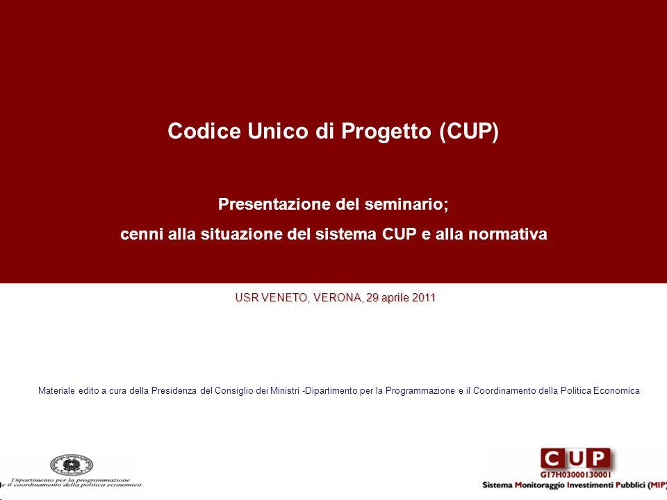 Codice Unico di Progetto (CUP) Presentazione del seminario; cenni alla situazione del sistema CUP e alla normativa USR VENETO, VERONA, 29 aprile 2011