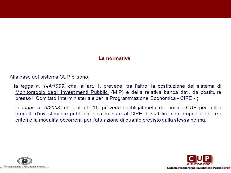 La normativa Alla base del sistema CUP ci sono: la legge n. 144/1999, che, allart. 1, prevede, tra laltro, la costituzione del sistema di Monitoraggio