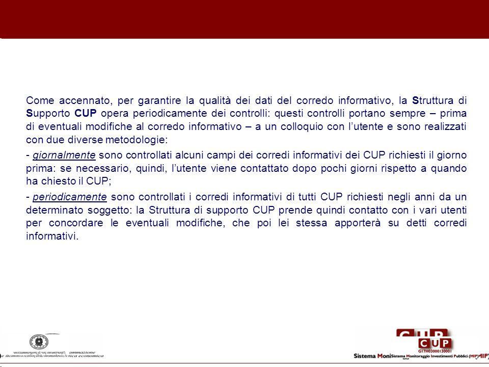 Come accennato, per garantire la qualità dei dati del corredo informativo, la Struttura di Supporto CUP opera periodicamente dei controlli: questi con