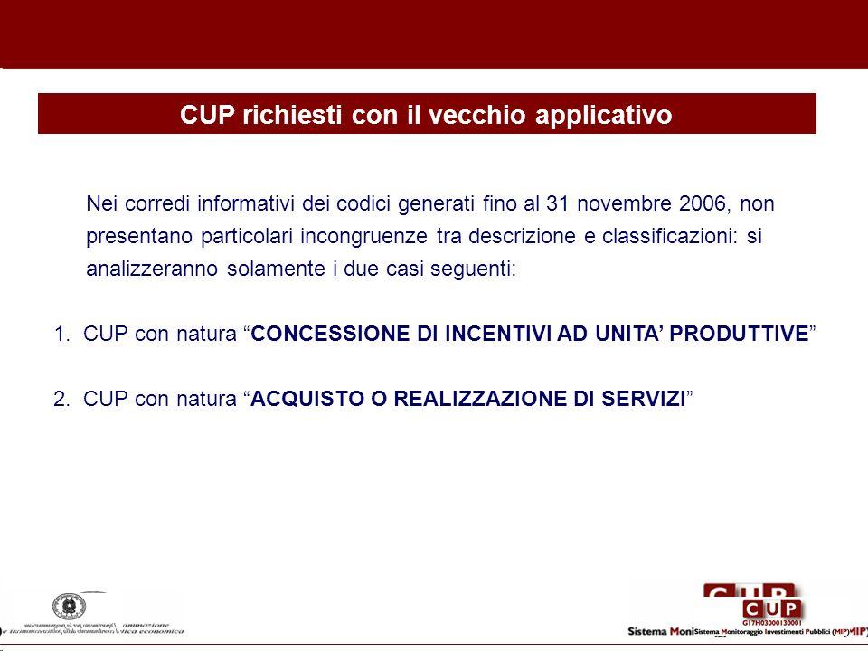 CUP richiesti con il vecchio applicativo Nei corredi informativi dei codici generati fino al 31 novembre 2006, non presentano particolari incongruenze