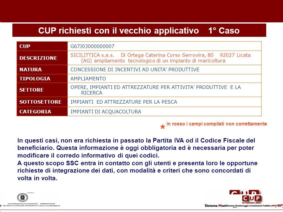 CUP richiesti con il vecchio applicativo1° Caso CUPG67J03000000007 DESCRIZIONE SICILITTICA s.a.s. Di Ortega Caterina Corso Serrovira, 80 92027 Licata