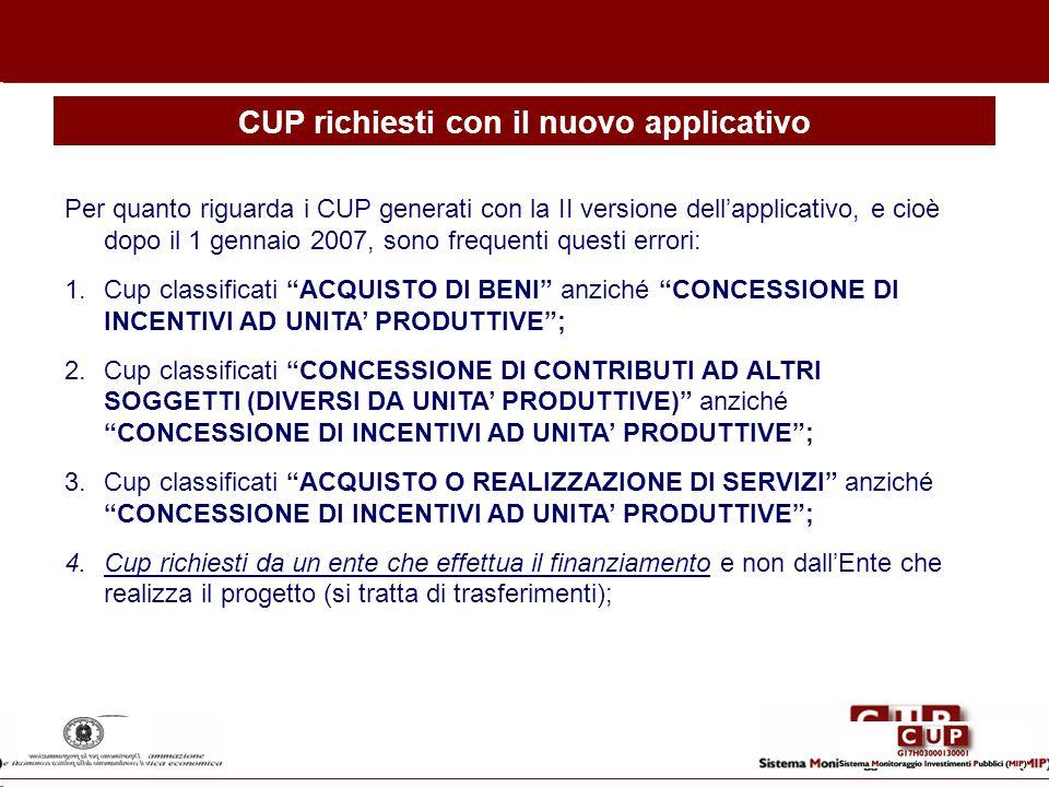 CUP richiesti con il nuovo applicativo Per quanto riguarda i CUP generati con la II versione dellapplicativo, e cioè dopo il 1 gennaio 2007, sono freq