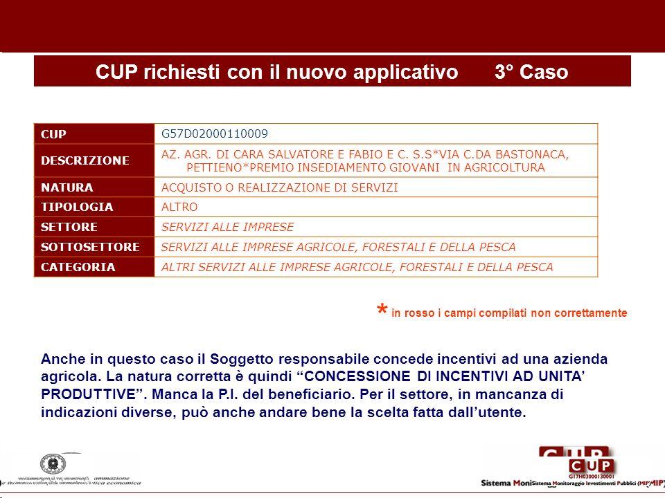 CUP richiesti con il nuovo applicativo3° Caso CUP G57D02000110009 DESCRIZIONE AZ. AGR. DI CARA SALVATORE E FABIO E C. S.S*VIA C.DA BASTONACA, PETTIENO