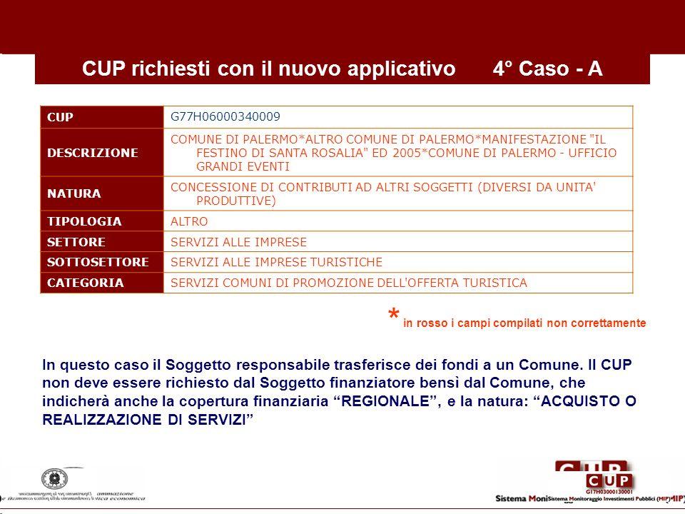 CUP richiesti con il nuovo applicativo4° Caso - A CUP G77H06000340009 DESCRIZIONE COMUNE DI PALERMO*ALTRO COMUNE DI PALERMO*MANIFESTAZIONE