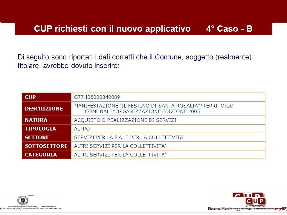 CUP richiesti con il nuovo applicativo4° Caso - B CUP G77H06000340009 DESCRIZIONE MANIFESTAZIONE