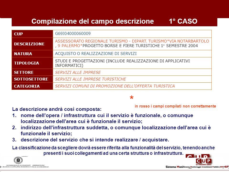 Compilazione del campo descrizione1° CASO CUP G69J04000060009 DESCRIZIONE ASSESSORATO REGIONALE TURISMO - DIPART. TURISMO*VIA NOTARBARTOLO, 9 PALERMO*