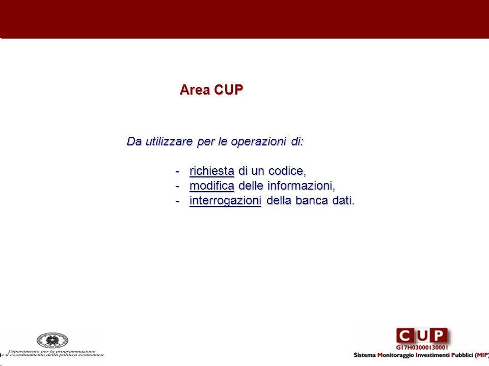 Da utilizzare per le operazioni di: - richiesta di un codice, - modifica delle informazioni, - interrogazioni della banca dati. Area CUP