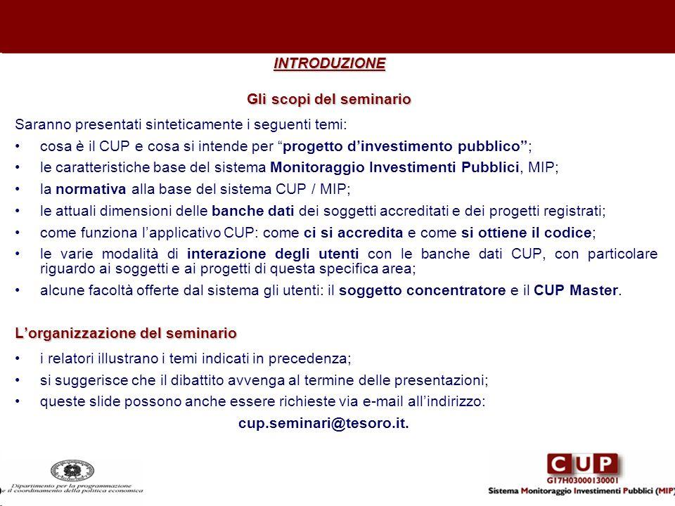 INTRODUZIONE Gli scopi del seminario Saranno presentati sinteticamente i seguenti temi: cosa è il CUP e cosa si intende per progetto dinvestimento pub