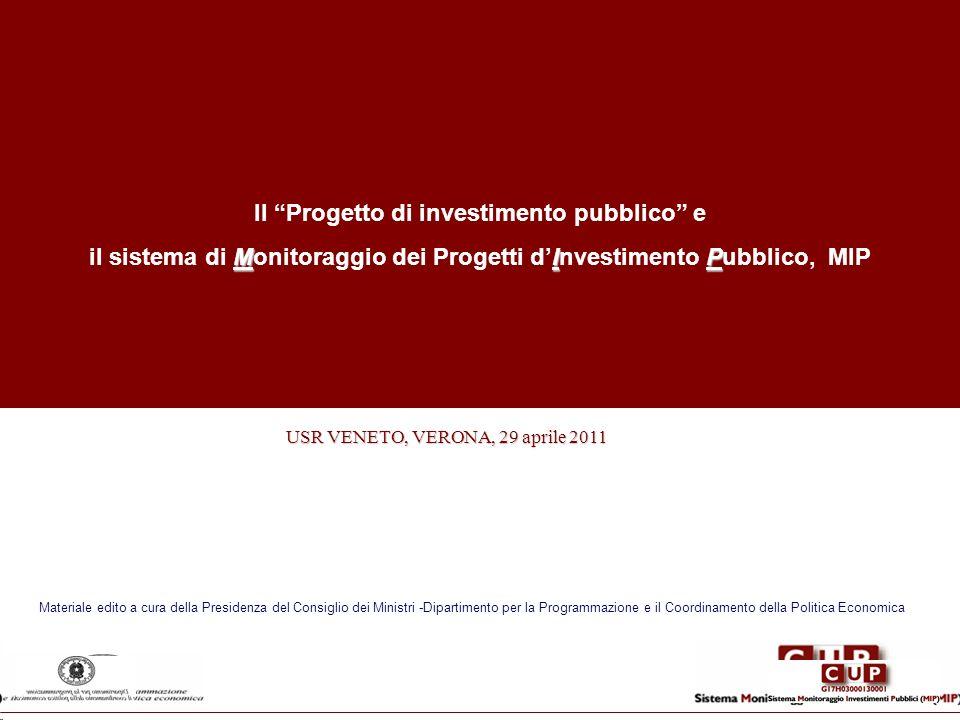 Il Progetto di investimento pubblico e MIP il sistema di Monitoraggio dei Progetti dInvestimento Pubblico, MIP USR VENETO, VERONA, 29 aprile 2011 USR