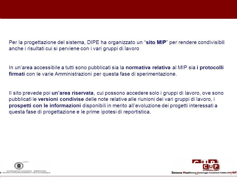 sito MIP Per la progettazione del sistema, DIPE ha organizzato un sito MIP per rendere condivisibili anche i risultati cui si perviene con i vari grup