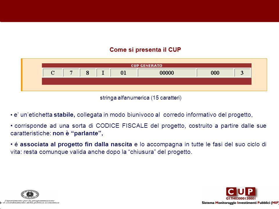 Come si presenta il CUP stringa alfanumerica (15 caratteri) e unetichetta stabile, collegata in modo biunivoco al corredo informativo del progetto, co