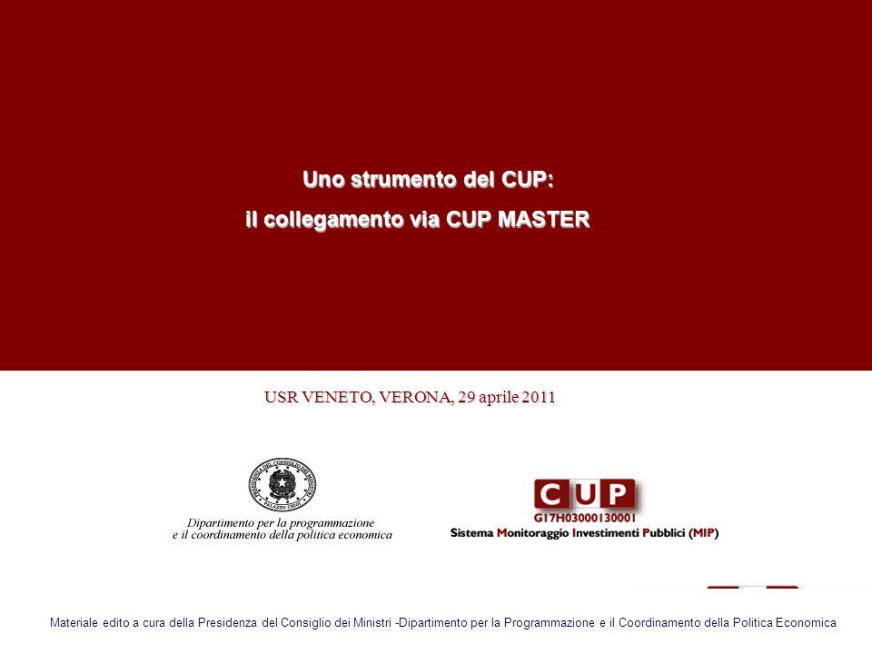 USR VENETO, VERONA, 29 aprile 2011 USR VENETO, VERONA, 29 aprile 2011 Uno strumento del CUP: Uno strumento del CUP: il collegamento via CUP MASTER il