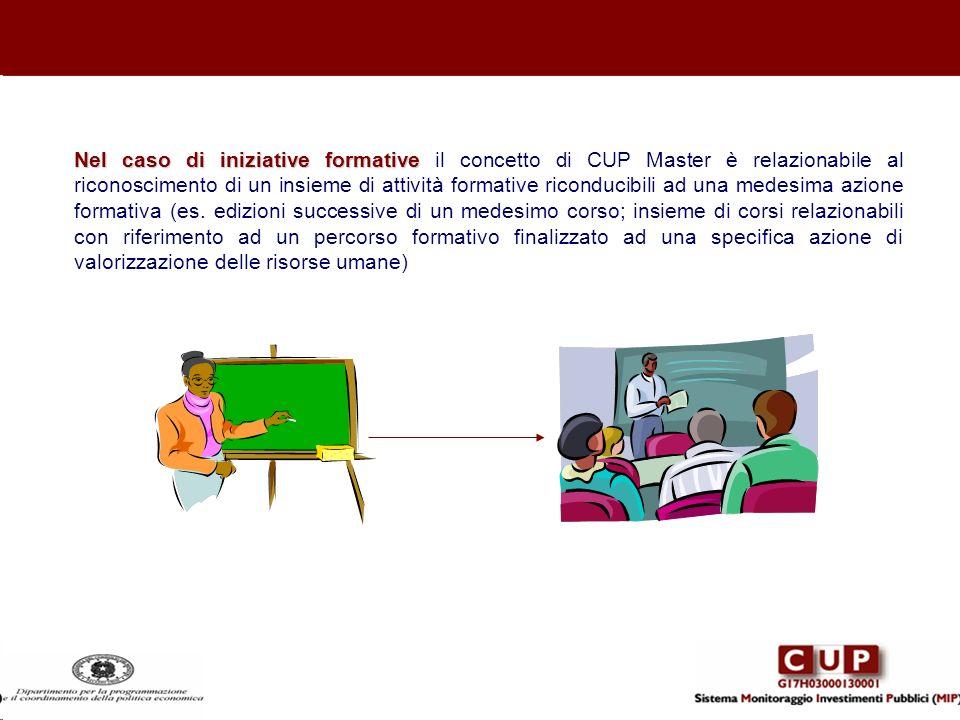 Nel caso di iniziative formative Nel caso di iniziative formative il concetto di CUP Master è relazionabile al riconoscimento di un insieme di attivit