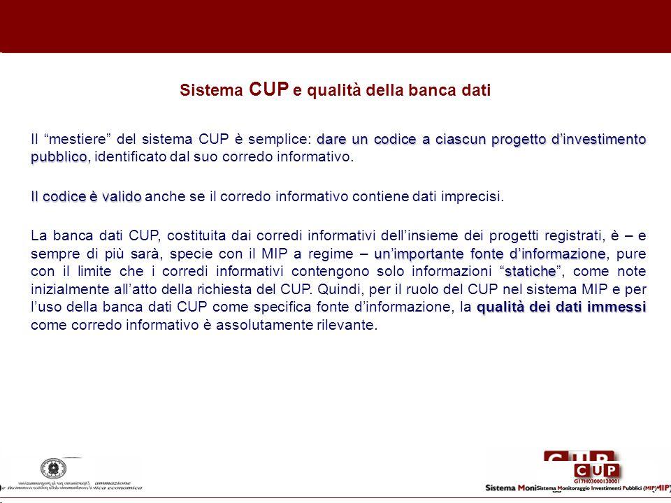 dare un codice a ciascun progetto dinvestimento pubblico Il mestiere del sistema CUP è semplice: dare un codice a ciascun progetto dinvestimento pubbl