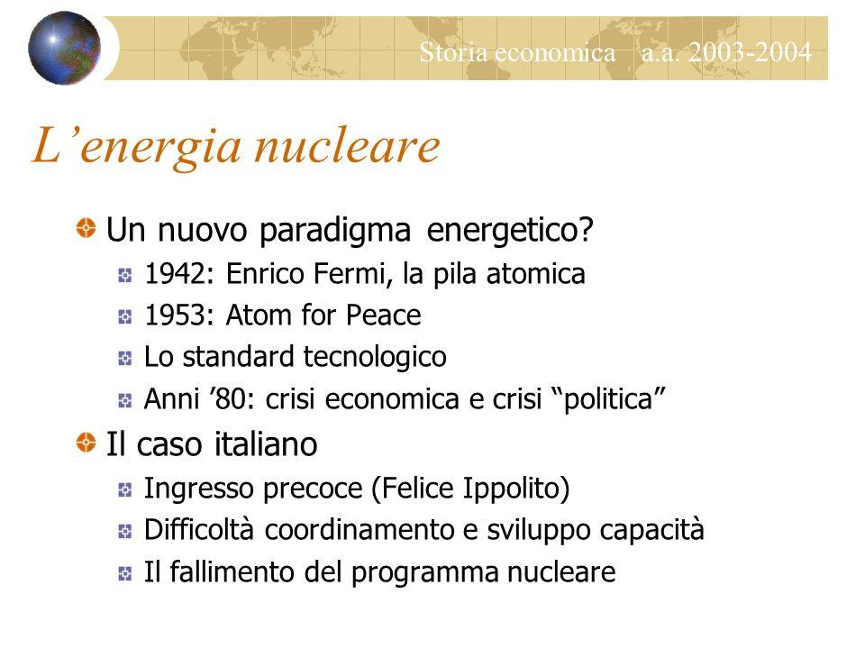 Storia economica a.a. 2003-2004 Lelettricità – Una sintesi Una FORMA di energia Elettricità statica conosciuta in antichità Scienza e industria fine O