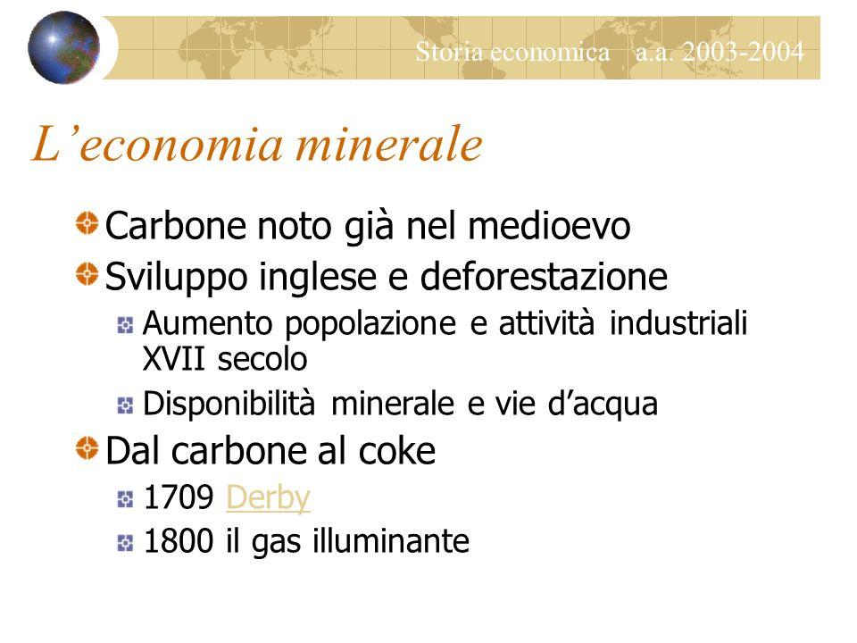 Storia economica a.a. 2003-2004 Il carbone Caratteristiche Fossilizzazione resti antiche foreste Riserva di energia solare accumulata in millenni C, H