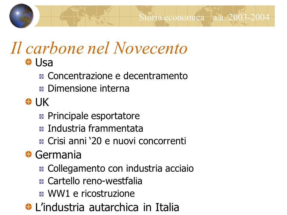 Storia economica a.a. 2003-2004 Il caso italiano Bassa disponibilità energetica Fossili superano legna solo a inizio 900 Produzione nazionale solo car