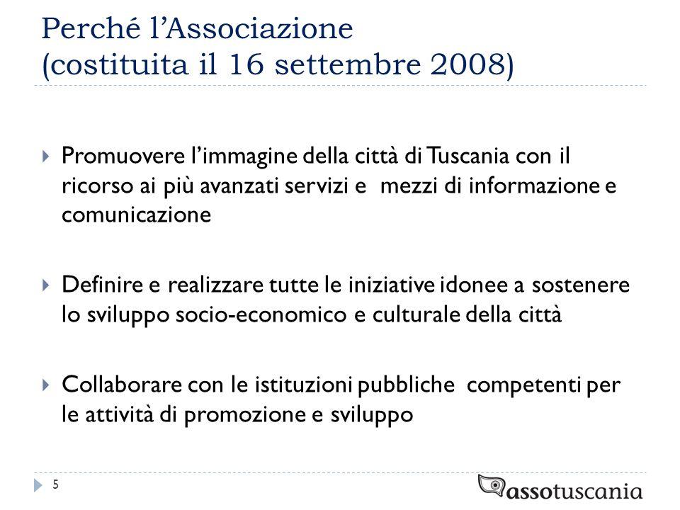 Perché lAssociazione (costituita il 16 settembre 2008) Promuovere limmagine della città di Tuscania con il ricorso ai più avanzati servizi e mezzi di