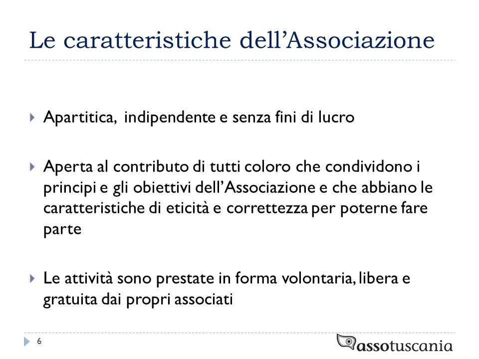 Le caratteristiche dellAssociazione Apartitica, indipendente e senza fini di lucro Aperta al contributo di tutti coloro che condividono i principi e g