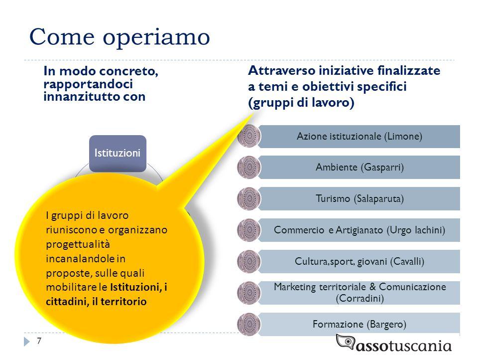 Come operiamo In modo concreto, rapportandoci innanzitutto con Attraverso iniziative finalizzate a temi e obiettivi specifici (gruppi di lavoro) 7 Ist