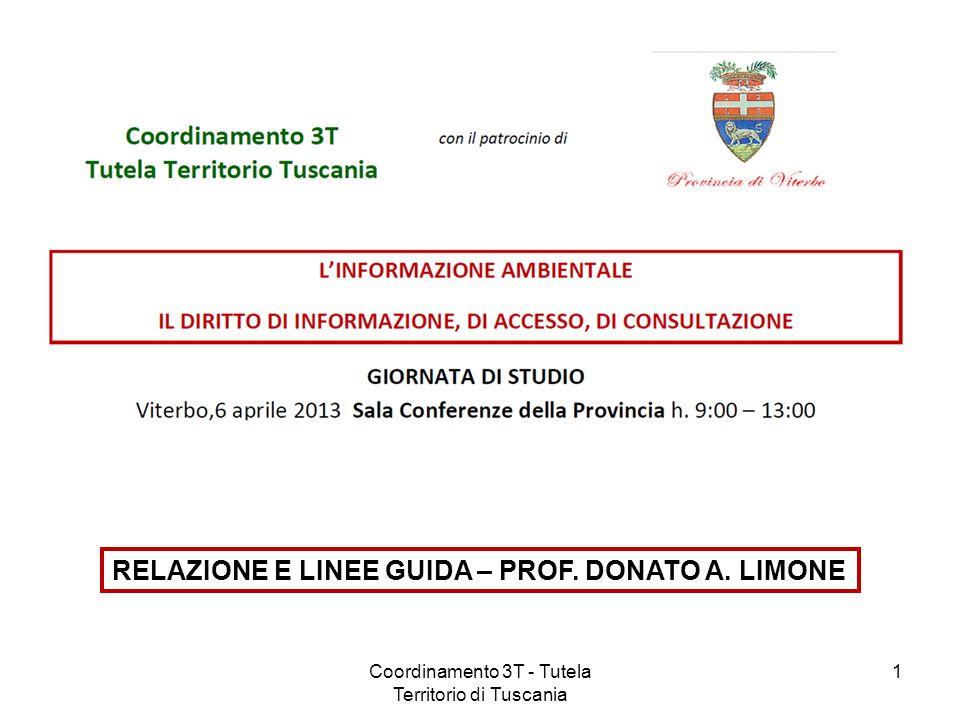 RELAZIONE E LINEE GUIDA – PROF. DONATO A. LIMONE 1Coordinamento 3T - Tutela Territorio di Tuscania