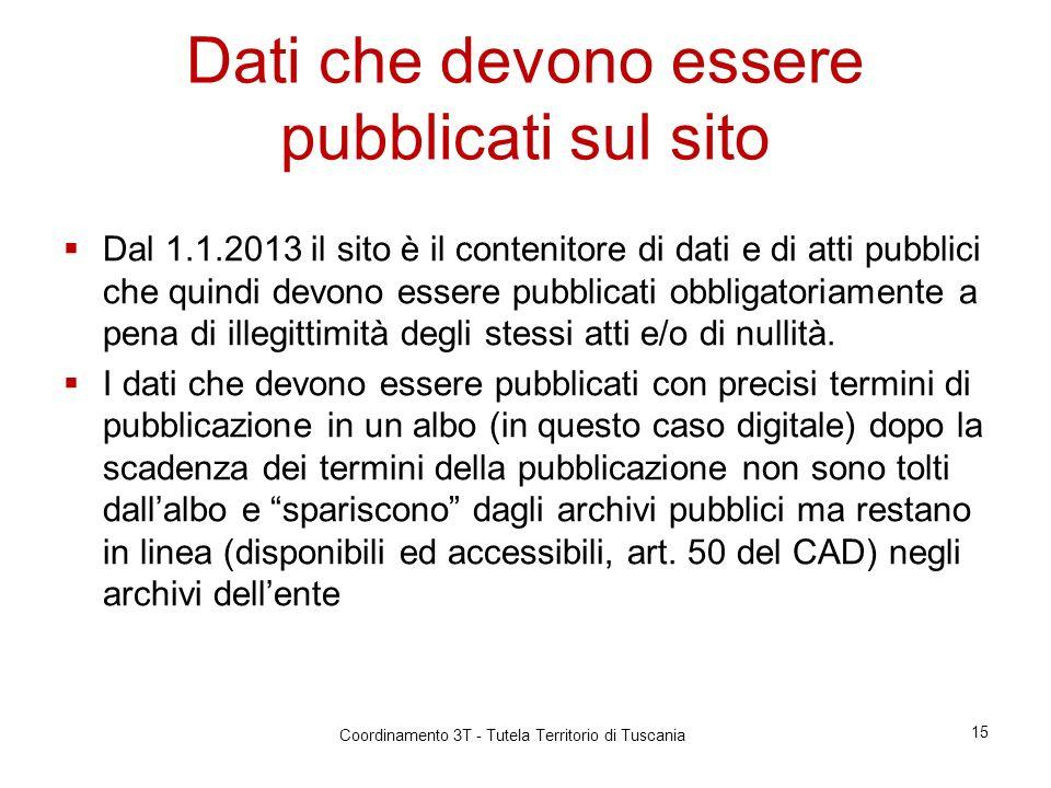 Dati che devono essere pubblicati sul sito Dal 1.1.2013 il sito è il contenitore di dati e di atti pubblici che quindi devono essere pubblicati obbligatoriamente a pena di illegittimità degli stessi atti e/o di nullità.