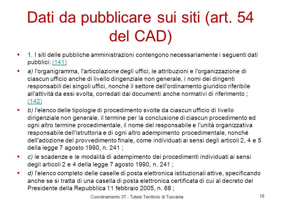 Dati da pubblicare sui siti (art.54 del CAD) 1.