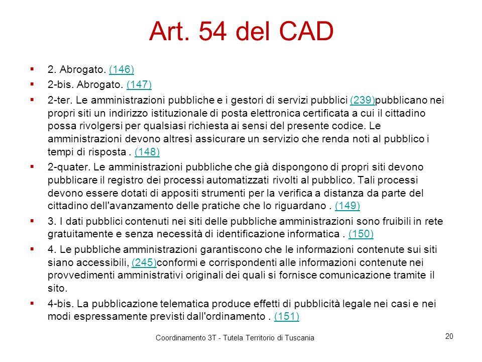 Art.54 del CAD 2. Abrogato. (146)(146) 2-bis. Abrogato.