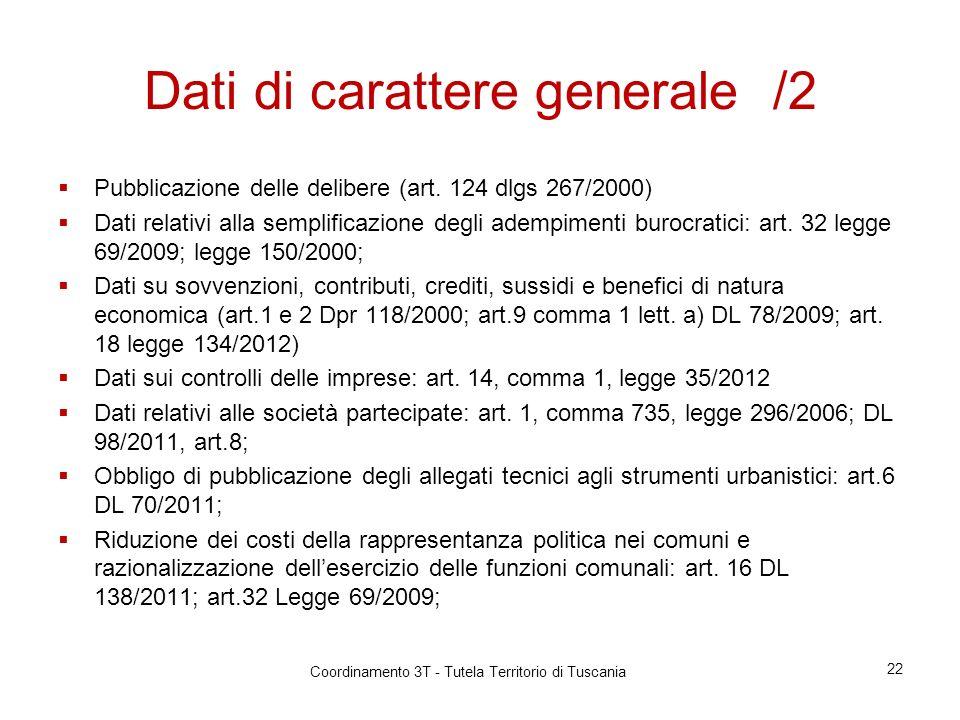 Dati di carattere generale /2 Pubblicazione delle delibere (art.