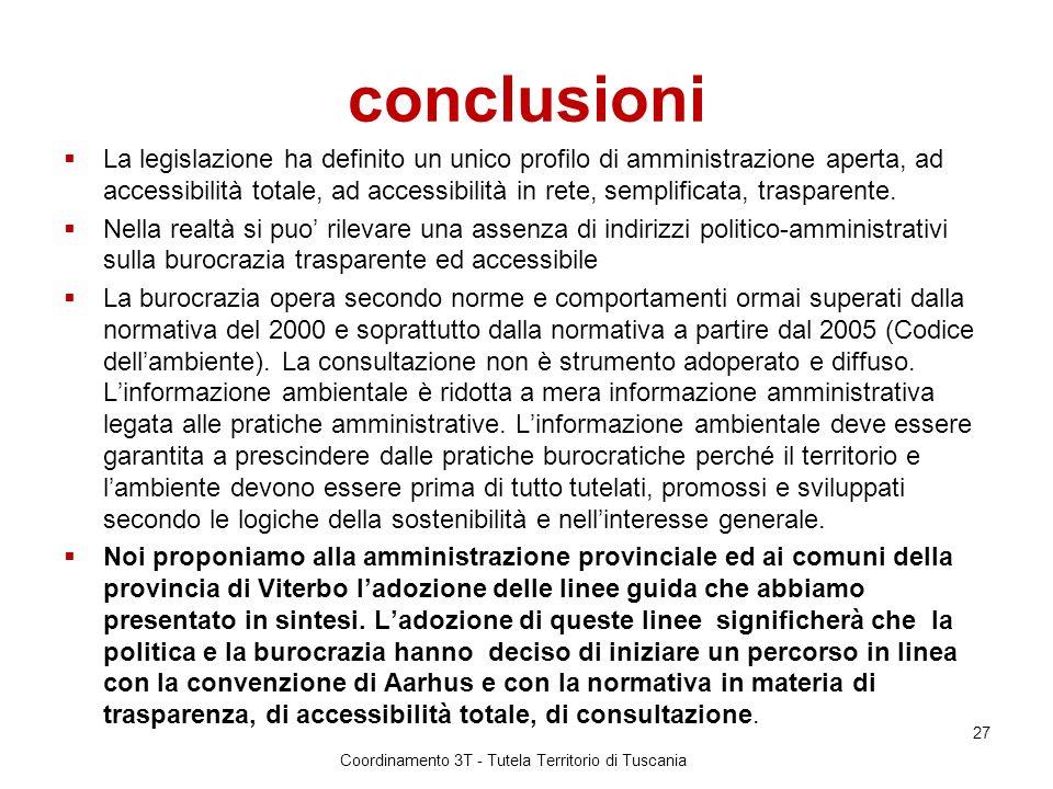 conclusioni La legislazione ha definito un unico profilo di amministrazione aperta, ad accessibilità totale, ad accessibilità in rete, semplificata, trasparente.