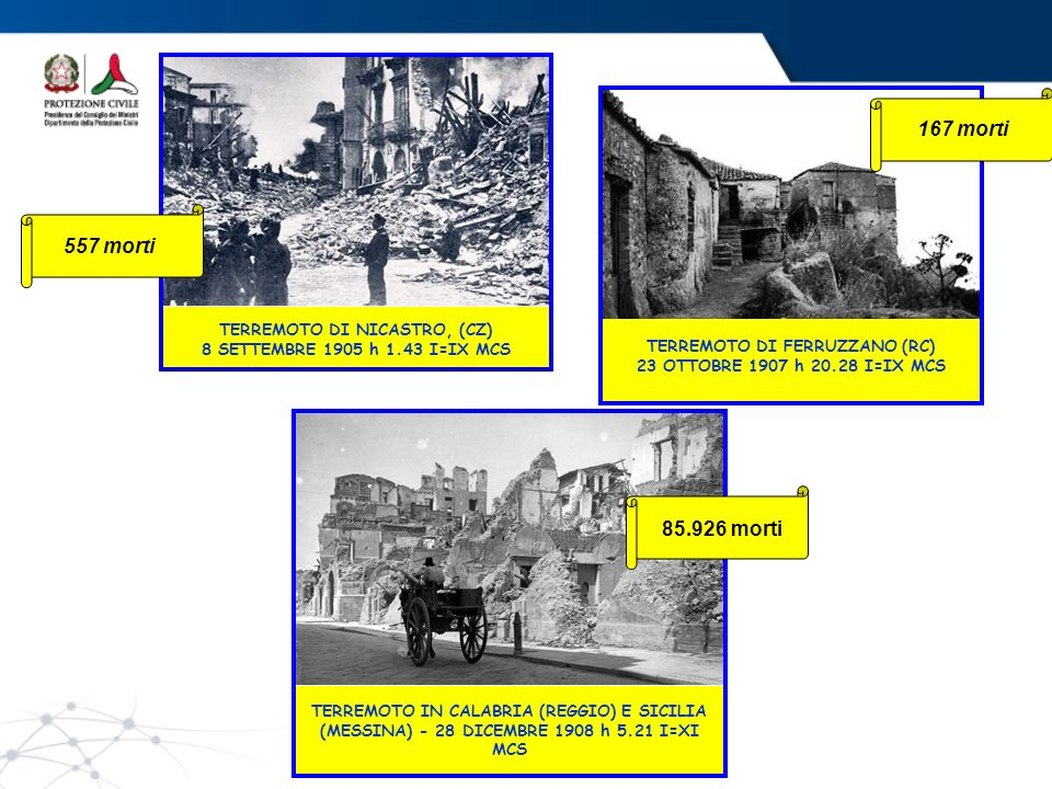 TERREMOTO NEL MUGELLO (FIRENZE) 29 GIUGNO 1919 h 15.06 I=IX MCS TERREMOTO IN AVEZZANO (ABRUZZO) 13 GENNAIO 1915 h 6.52 I=XI MCS 32.610 morti100 morti