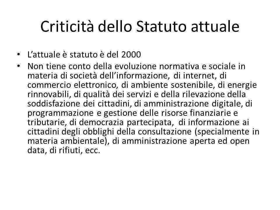 Criticità dello Statuto attuale Lattuale è statuto è del 2000 Non tiene conto della evoluzione normativa e sociale in materia di società dellinformazi