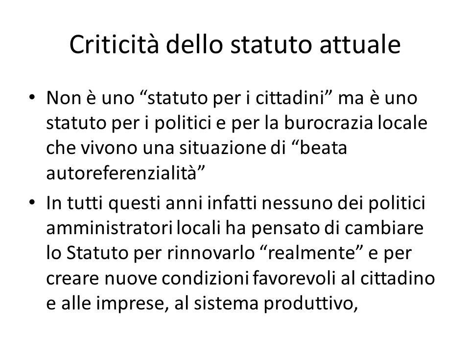Criticità dello statuto attuale Non è uno statuto per i cittadini ma è uno statuto per i politici e per la burocrazia locale che vivono una situazione