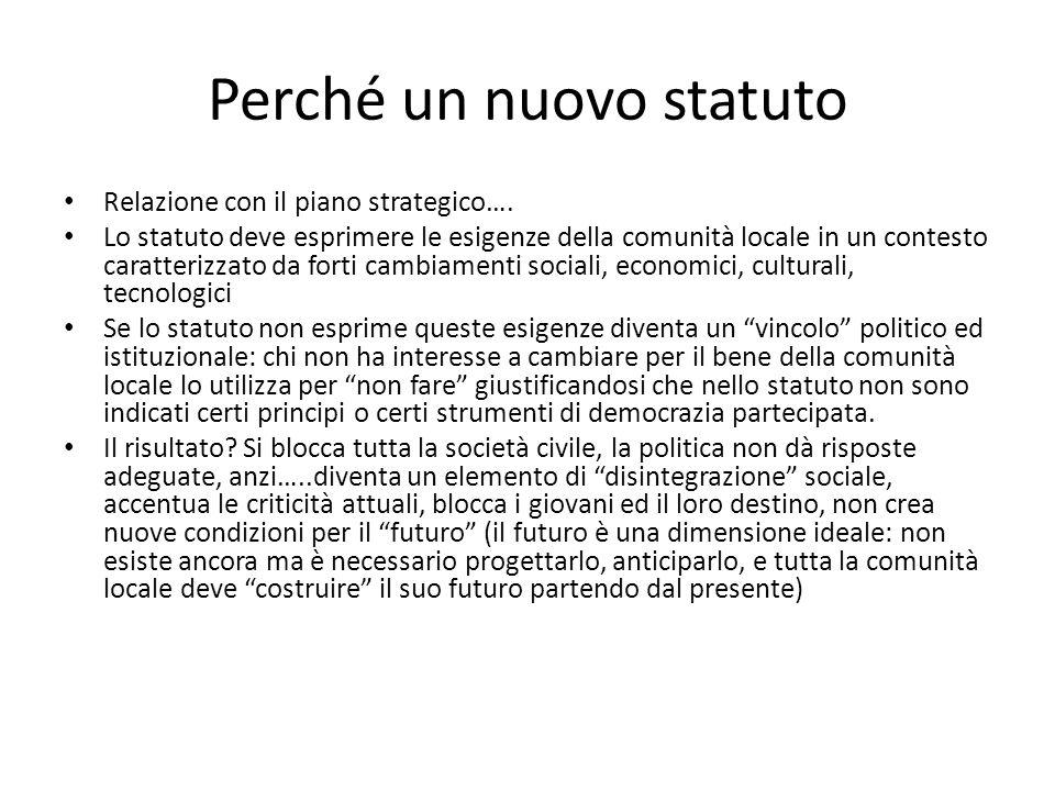 Perché un nuovo statuto Relazione con il piano strategico…. Lo statuto deve esprimere le esigenze della comunità locale in un contesto caratterizzato