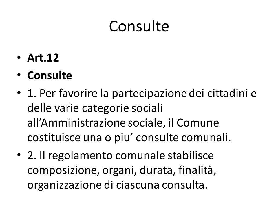 Consulte Art.12 Consulte 1. Per favorire la partecipazione dei cittadini e delle varie categorie sociali allAmministrazione sociale, il Comune costitu