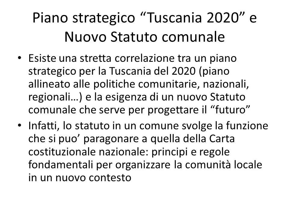 Piano strategico Tuscania 2020 e Nuovo Statuto comunale Esiste una stretta correlazione tra un piano strategico per la Tuscania del 2020 (piano alline