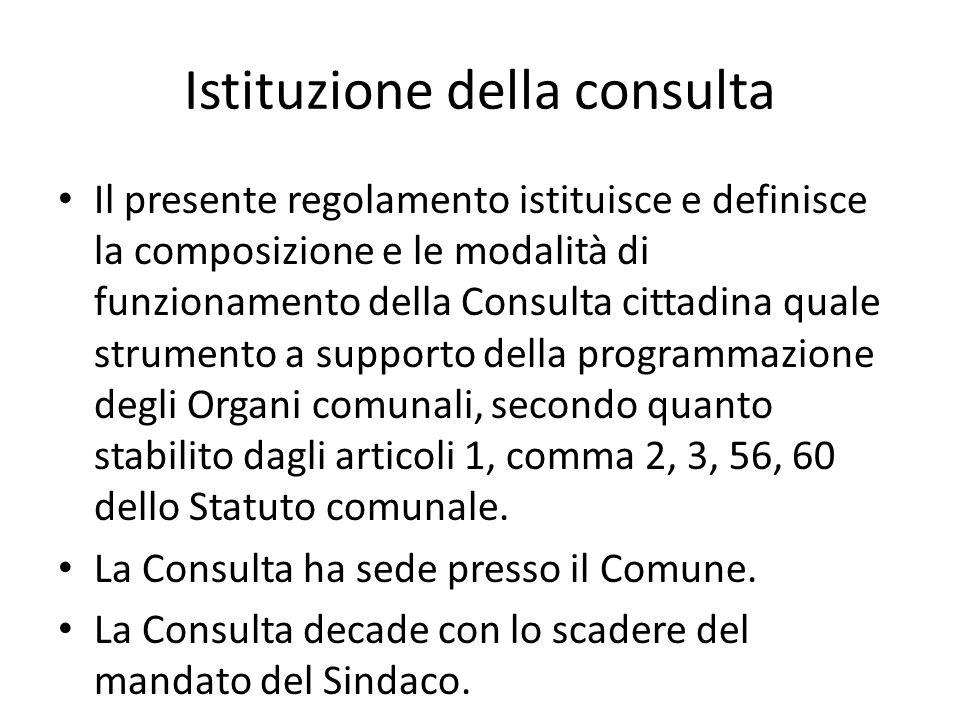 Istituzione della consulta Il presente regolamento istituisce e definisce la composizione e le modalità di funzionamento della Consulta cittadina qual