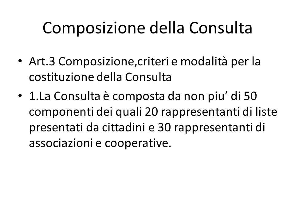 Composizione della Consulta Art.3 Composizione,criteri e modalità per la costituzione della Consulta 1.La Consulta è composta da non piu di 50 compone
