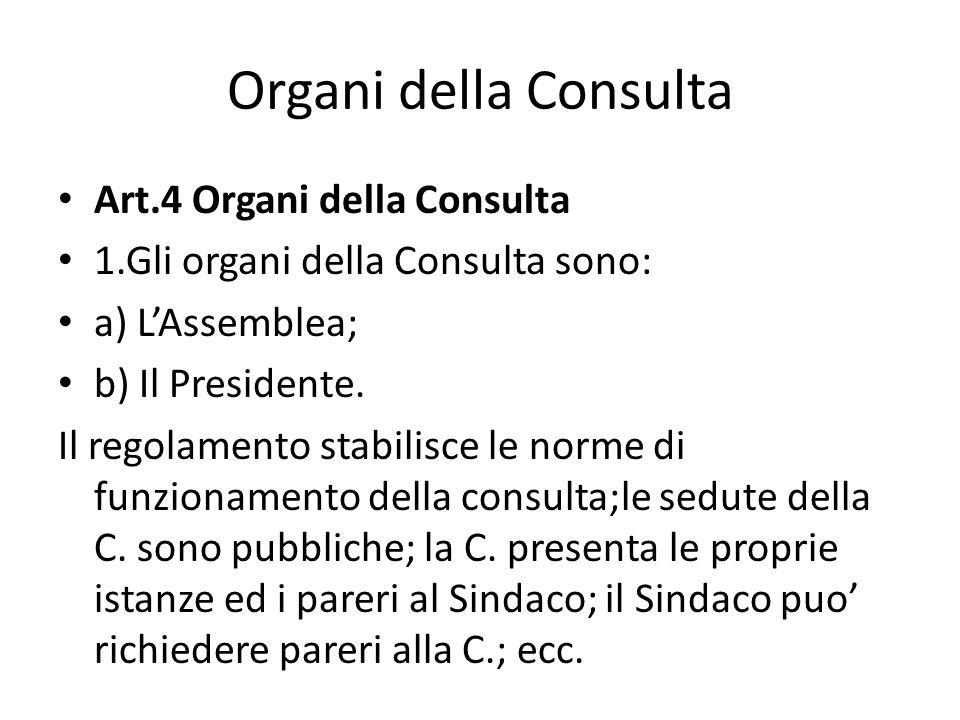 Organi della Consulta Art.4 Organi della Consulta 1.Gli organi della Consulta sono: a) LAssemblea; b) Il Presidente. Il regolamento stabilisce le norm