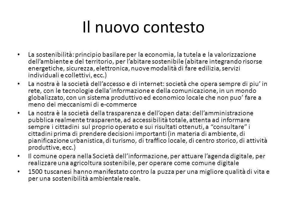 Il nuovo contesto La sostenibilità: principio basilare per la economia, la tutela e la valorizzazione dellambiente e del territorio, per labitare sost